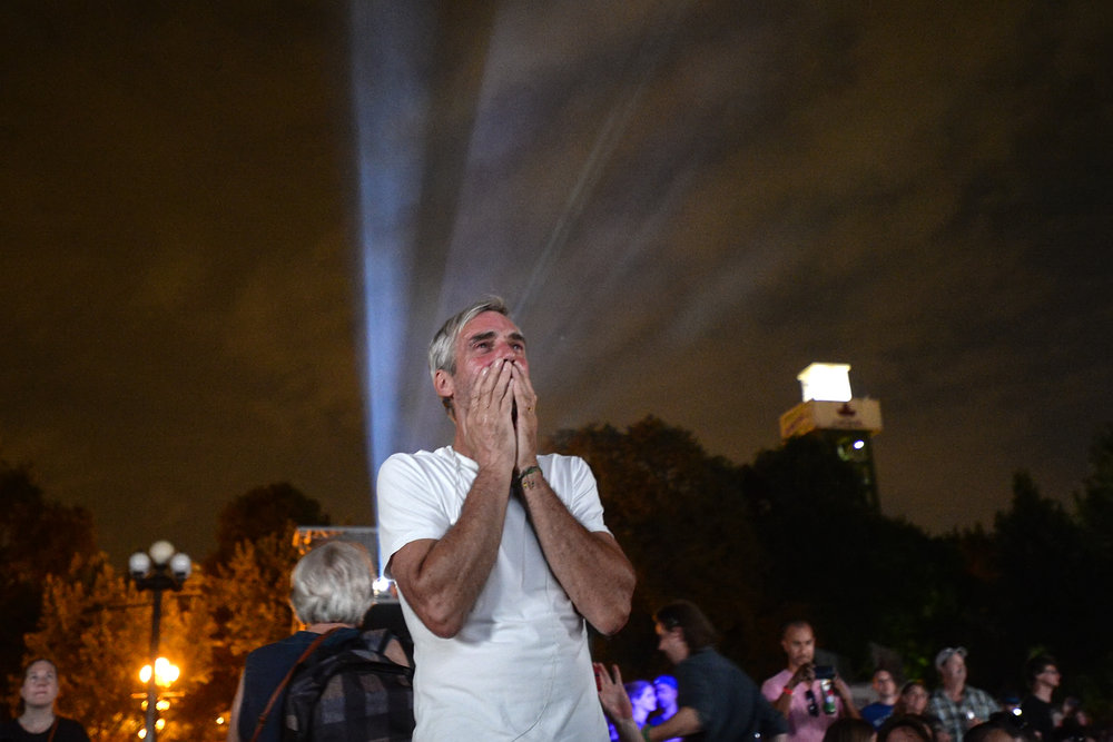 William Grossmith gets emotional during the live broadcast of the final Tragically Hip concert at the Toronto Star Bandshell at the CNE on August 20, 2016.