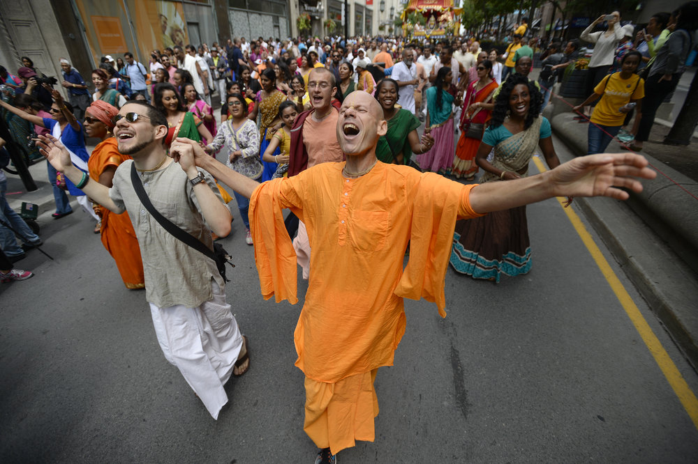 Hundreds of people paraded down Yonge St. during the 44th annual International Society for Krishna Consciousness religious and cultural parade on July 16, 2016.