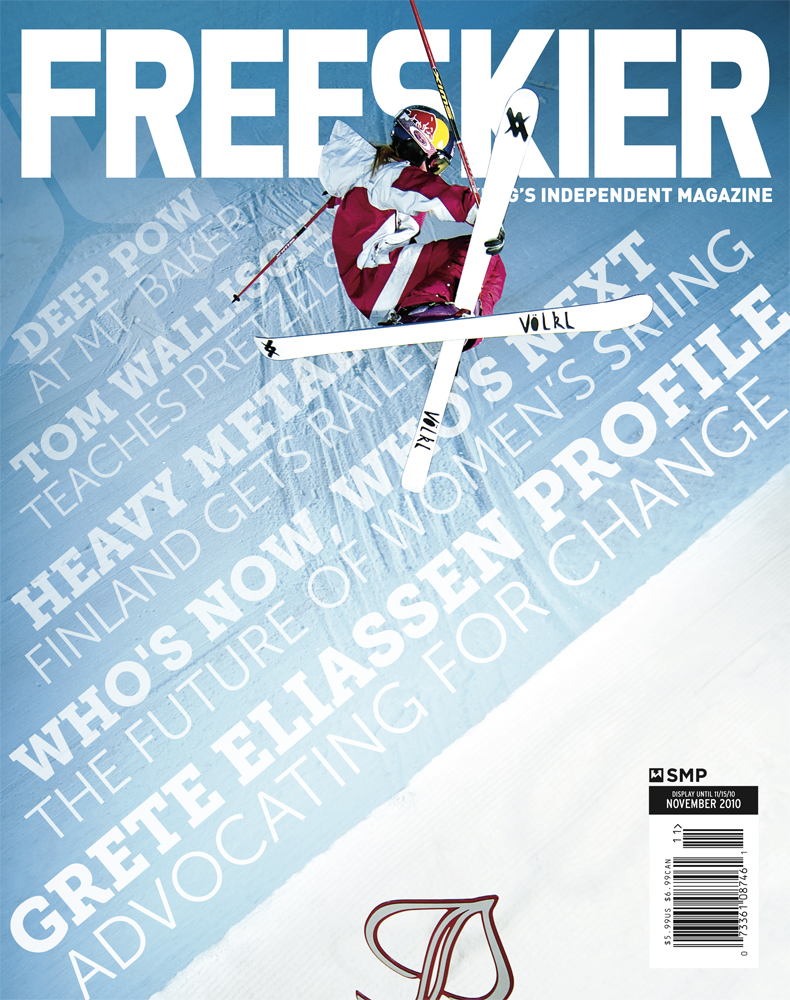 November issue's cover of Freeskier Magazine featuring Grete Eliassen, shot in Aspen, CO.