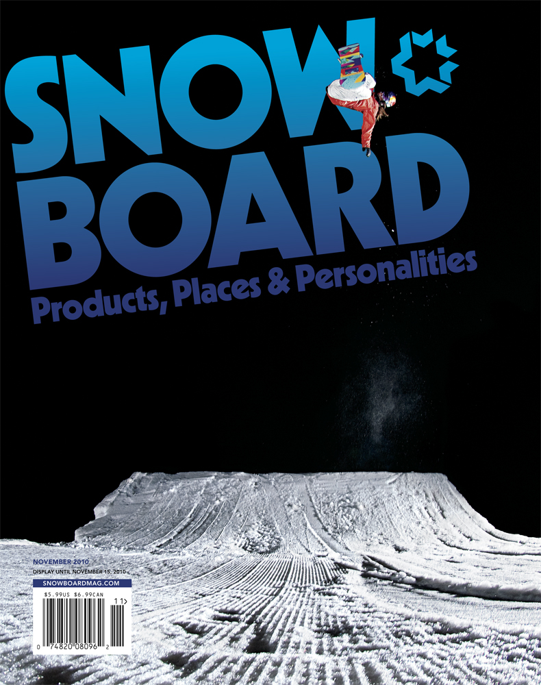 November issue's cover of Snowboard Magazine featuring Spencer O'Brien, shot in Aspen, CO.