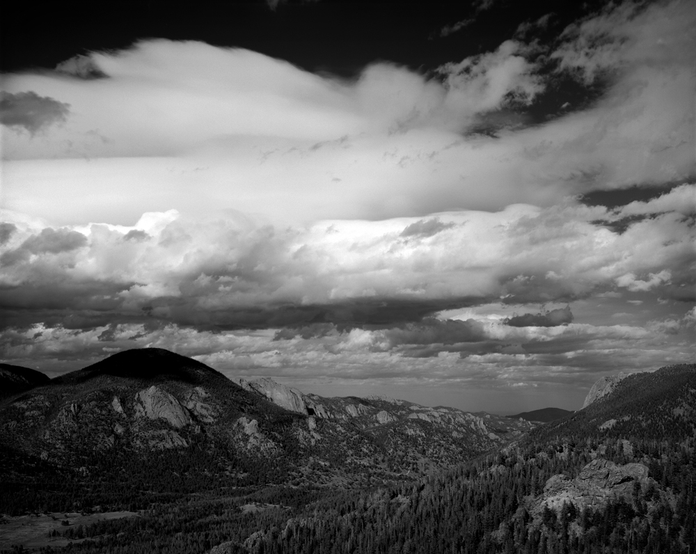 Another photo from Many Parks Curve in Rocky Mountain National Park. I've shot this spot before with my 210, but wanted a bit more real estate in the frame, and got this one of a storm brewing with a 150mm. Lotsa drama.