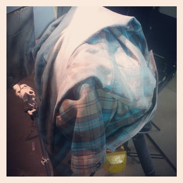 Somewhere under that shirt caked in flour lies a camera… (Taken with  Instagram )