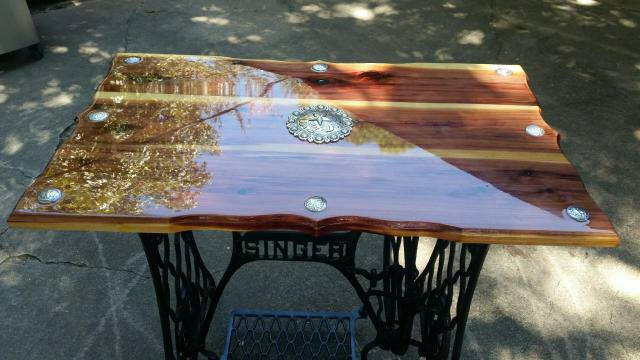 Beautiful Singer Sewing Machine base table built by Steve Coleman From Red Cedar Creations