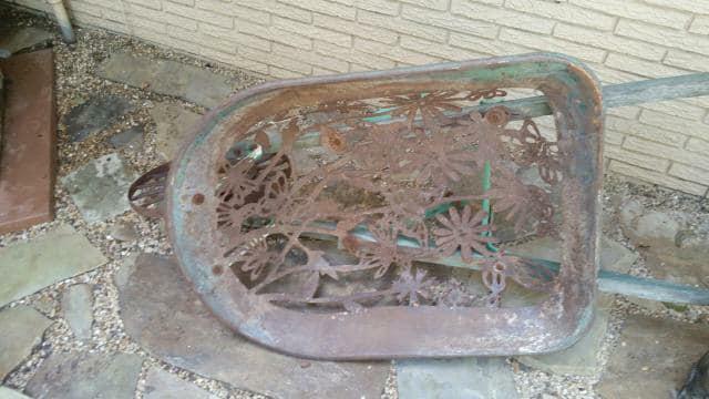 Antique Hand Plasma Cut Yard Art Wheel Barrel
