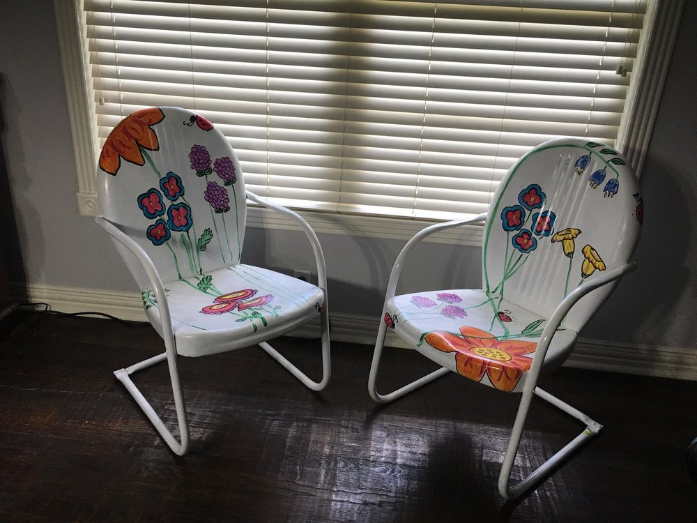 Vintage Lawn Chairs  Painted by renowned South Texas Artist Danna Salter