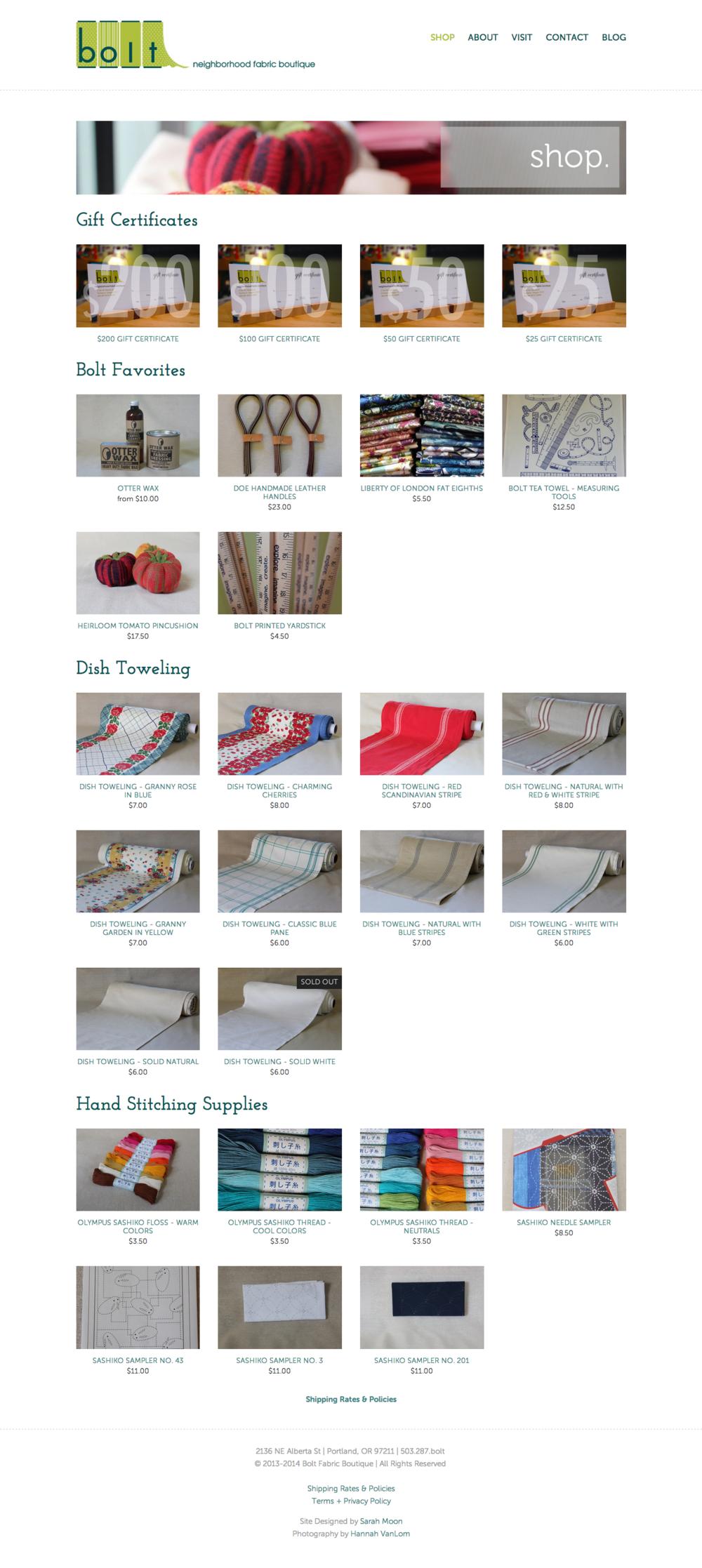 Bolt Fabric Boutique - Web Store