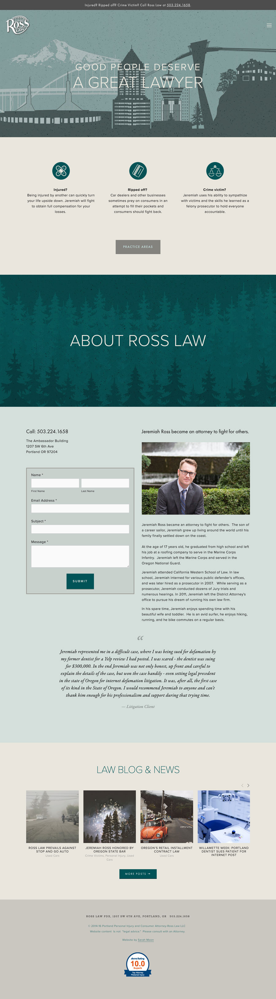 Website design for Portland attorney Jeremiah Ross, rosslawpdx.com; Design by Sarah Moon - sarahmoon.net