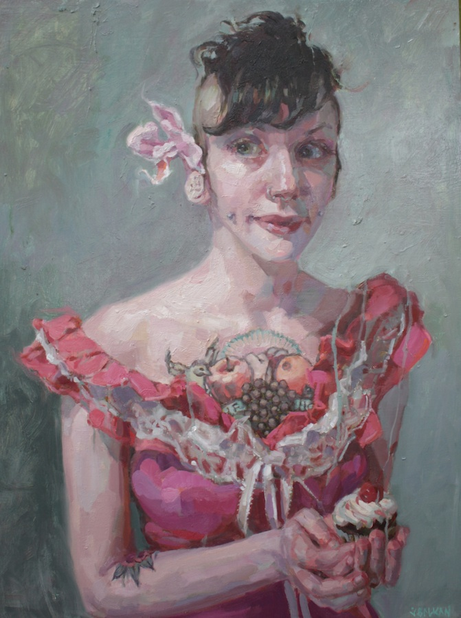 "American Woman oil on wood 32""x24""  Juried into ""The Artist's Gaze: Seeing Women in the 21st Century"" presented by PoetsArtists Magazine at  .  Sirona Fine Art."