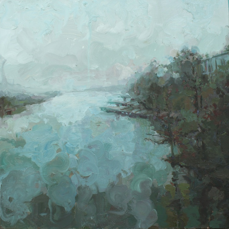 """Foggy Morning oil on wood 24""""x24""""  SOLD"""