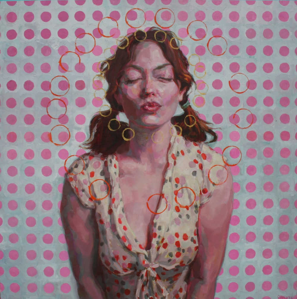 "Pinkest kiss ever oil on wood 36""x36""  SOLD"