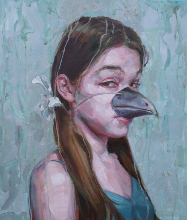 """Bird Beak oil on wood 26""""x24""""  SOLD"""