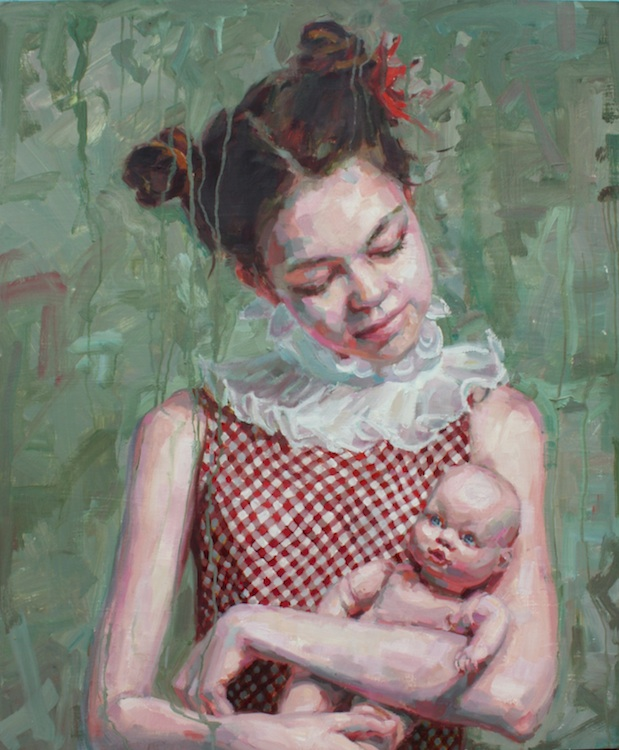 "Girl with babydoll oil on wood 36""x30""  SOLD"