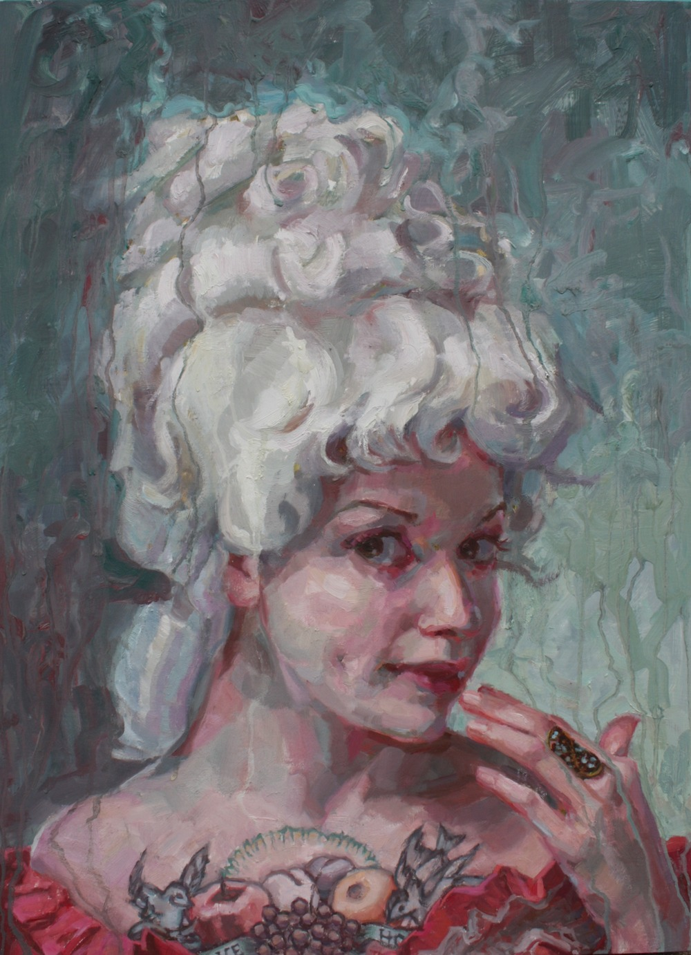 "Lady in wig oil on wood 30""x24""  SOLD"