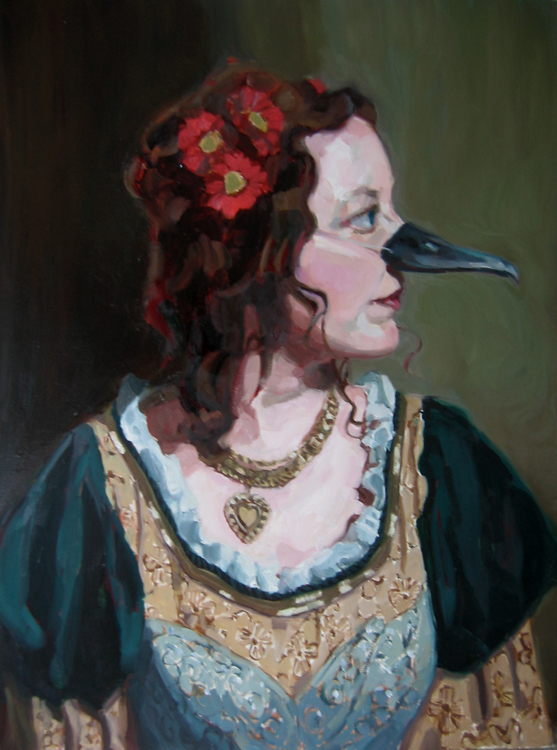 "Baroque lady bird oil on wood 32""x24""  SOLD"