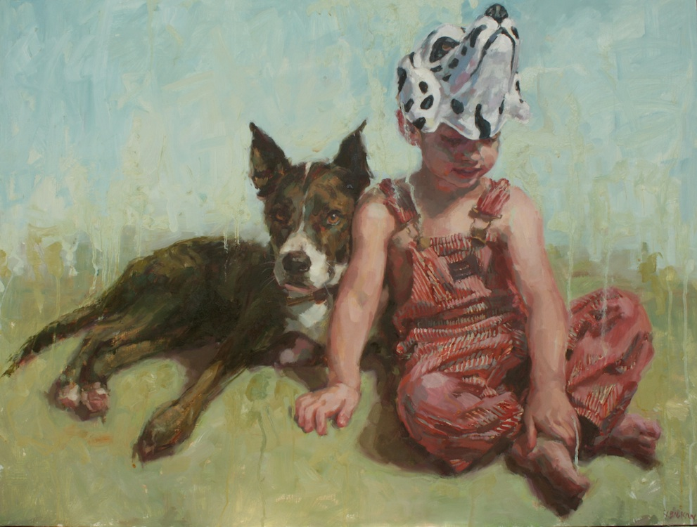 """Dog and his boy oil on wood 30""""x40""""  private collection"""