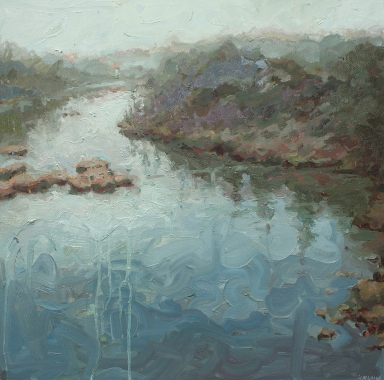 """East of foggy morning oil on wood 24""""x24""""  AVAILABLE"""