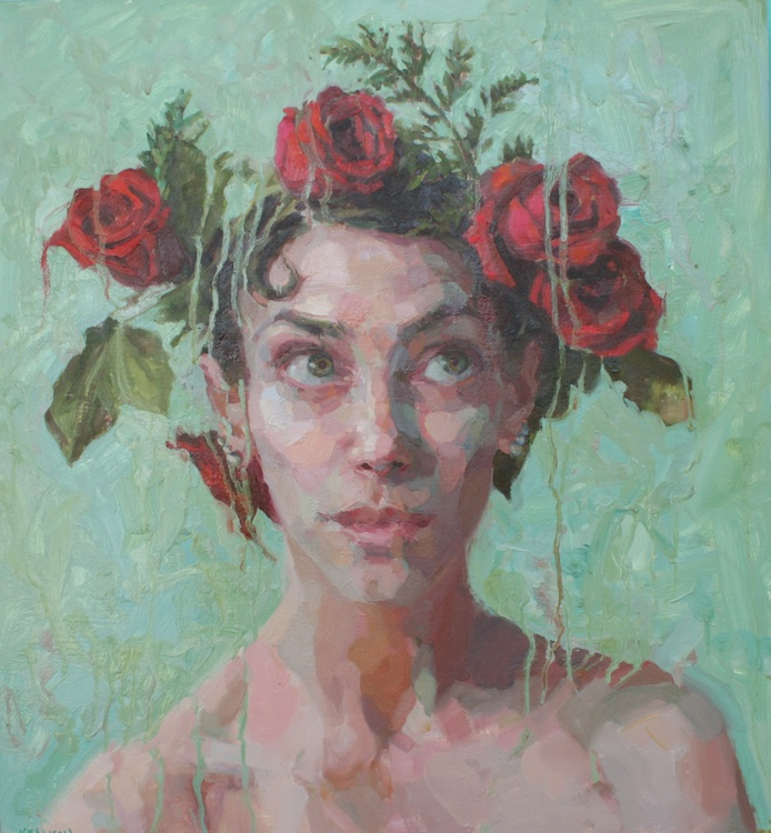 "Crowned oil on wood 26""x24""  SOLD"