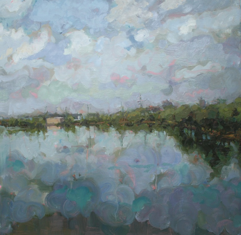 """And sometimes there are clouds"" oil on wood 24""x24""  SOLD"