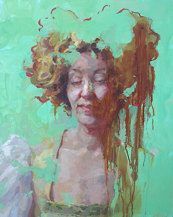 """""""Sometimes"""" 30""""x24"""" oil on wood   curated into the  Women Painting Women: Texas  at the Georgetown Art Center"""