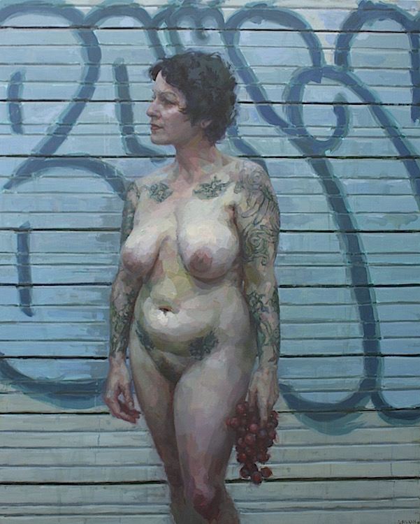"""""""Public Art"""" oil on canvas 60""""x48""""  Awarded 9th Place by the Portrait Society of America"""