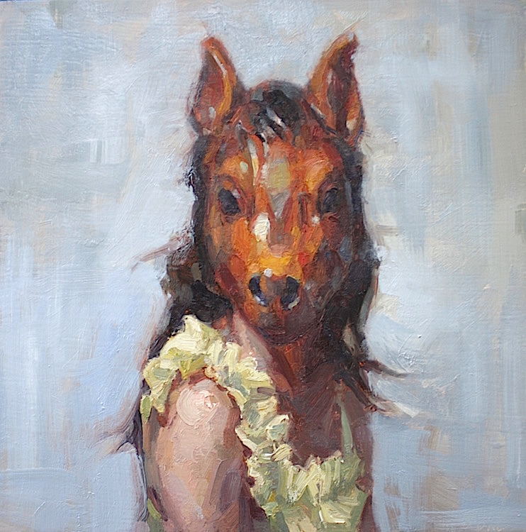 """Horse Woman"" 12""x12"" oil on panel  SOLD"