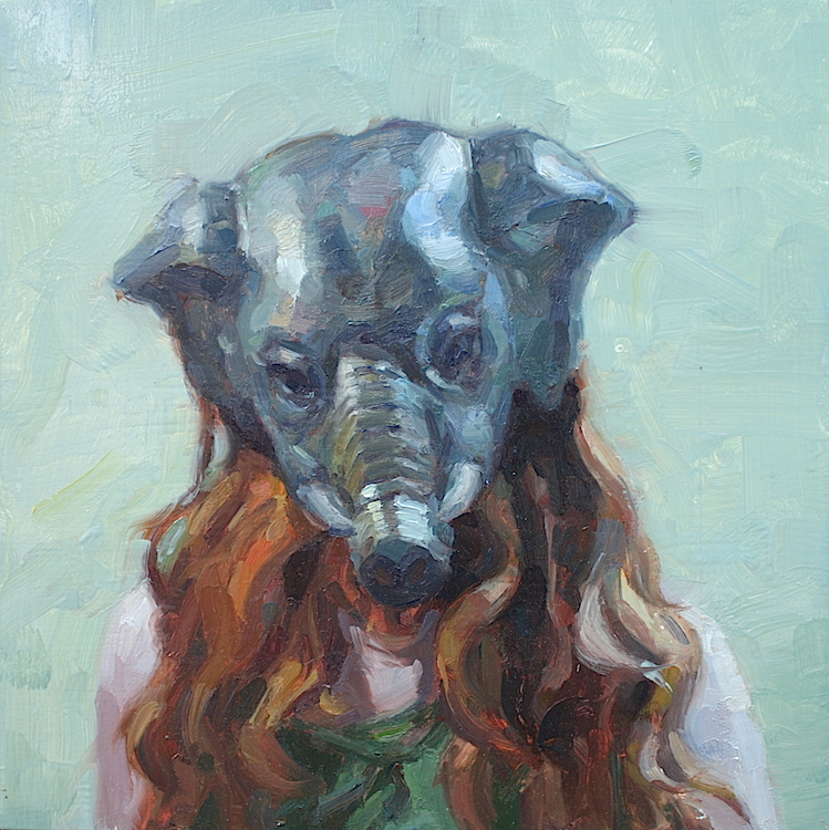 """Elephant Woman"" 12""x12"" oil on panel  SOLD"