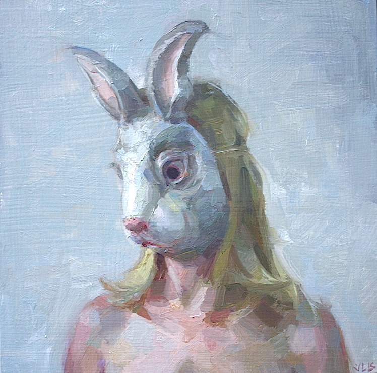 """Rabbit Woman"" 12""x12"" oil on panel  SOLD"