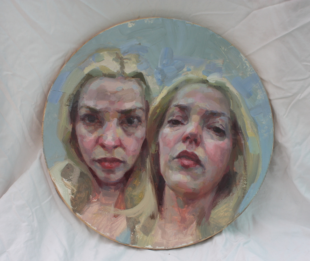 """Sharon"" oil on wood, 18"" diameter"