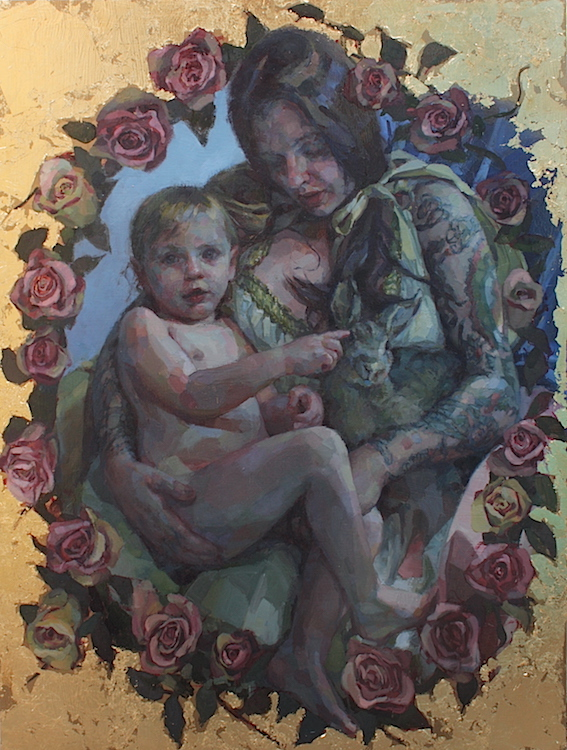 """""""Madonna with Child, 2016 A.D."""" oil on wood with metal leaf 40""""x30""""  SOLD Featured in the U.K.'s  Paint & Draw Magazine  August 2017"""