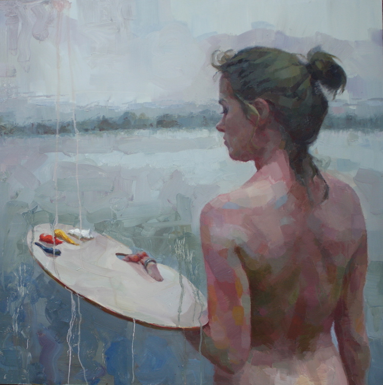 """Painter"" oil on aluminum panel 31.5""x31.5"" framed  AVAILABLE"