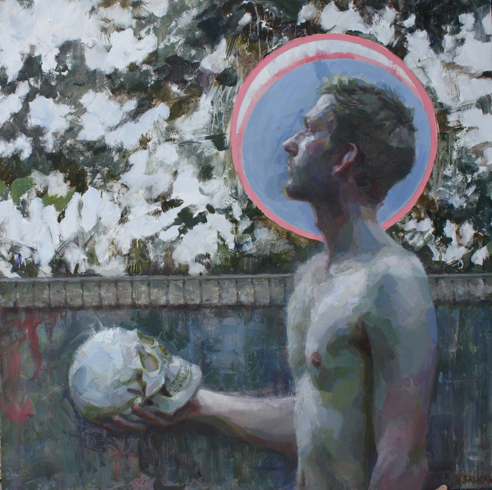 """Painter of heads"" oil on aluminum panel 31.5""x31.5"" framed"