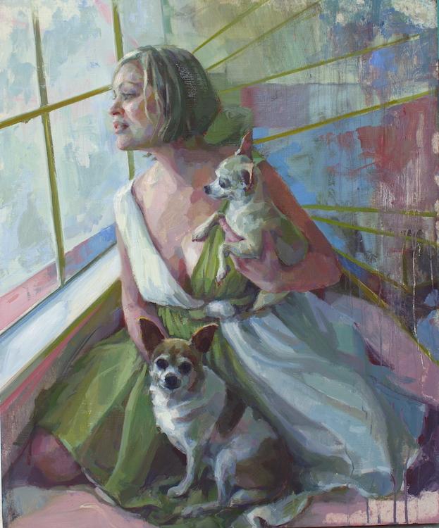 "Little Dog Lady 36""x30""  commission"