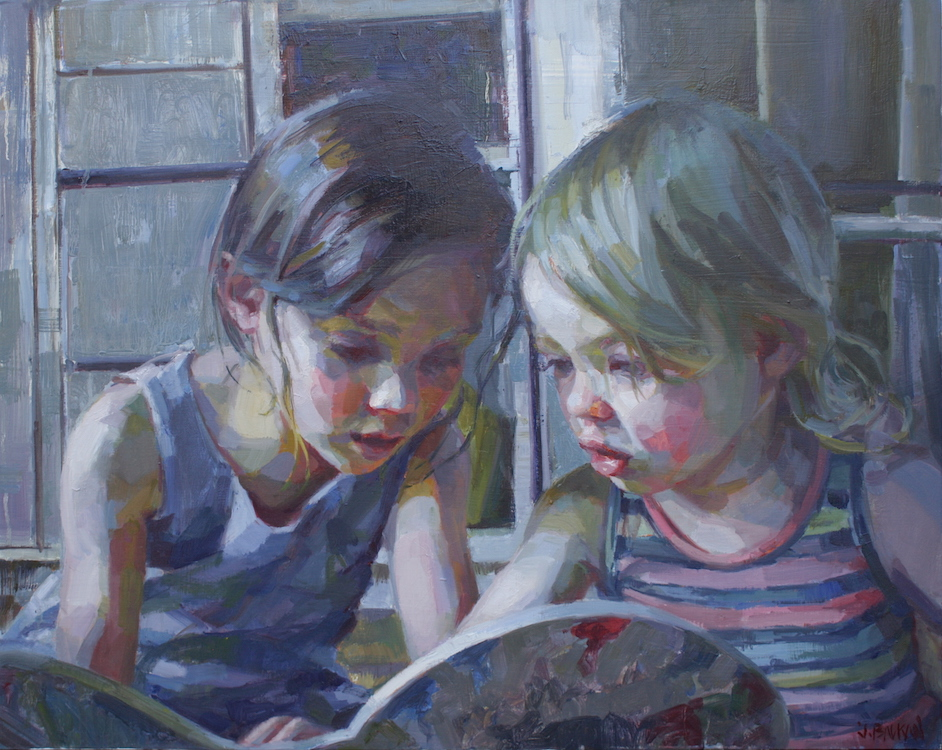 """Sisters"" commission  30""x24"" oil on wood panel"