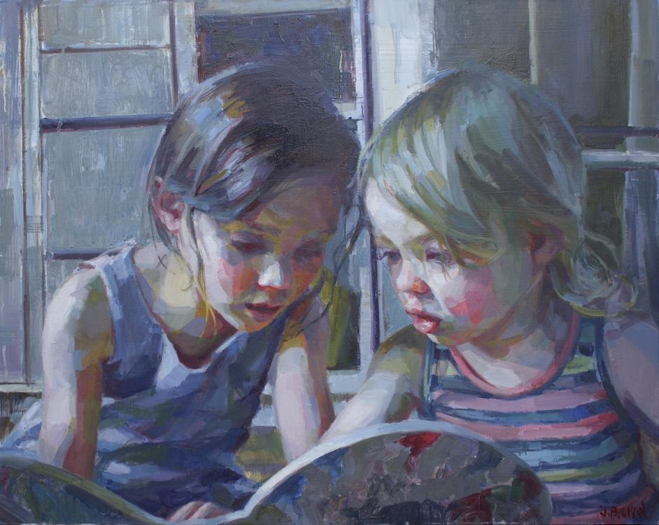 """Sisters"" commission  30""x24"" oil on wood panel"