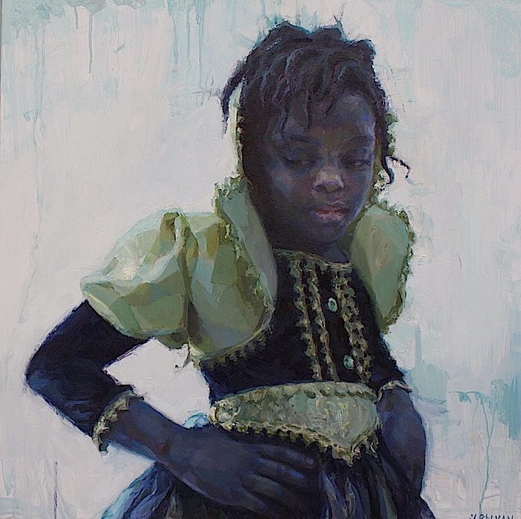 """""""When I Grow Up"""" oil on aluminum panel 24""""x24""""  Curated into """"Woman as Warrior""""exhibition at the  Zhou B Art Center  in Chicago, IL  Featured in the U.K.'s  Paint & Draw Magazine  August 2017"""