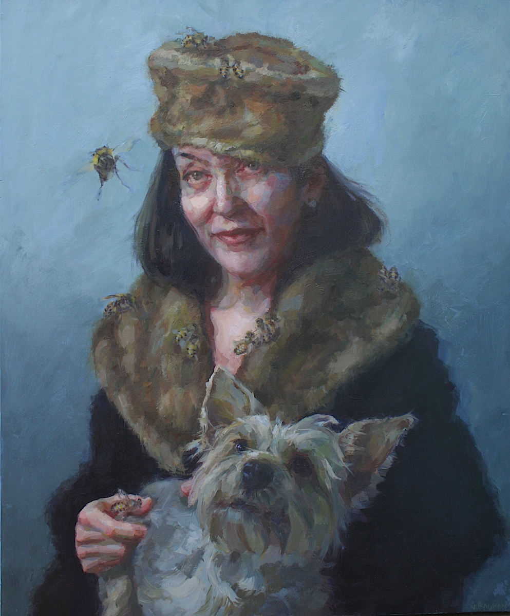 """Queen"" oil on wood panel 36""x30""  In ""Women Painting Women: In Earnest,"" a traveling museum exhibition curated by Alia El-Bermani"