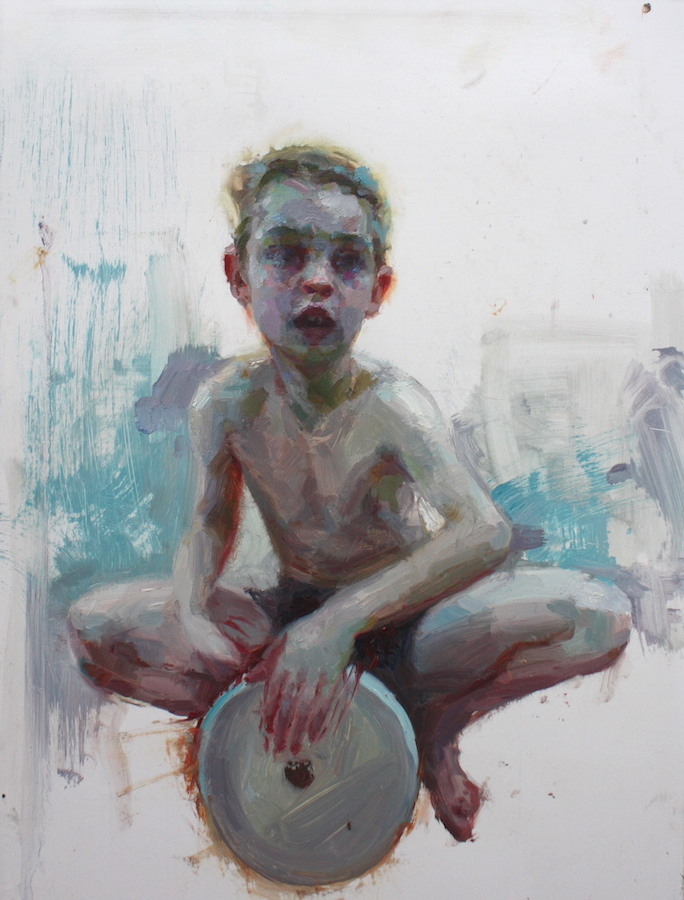 "Little Drummer Boy oil on aluminum panel, 16""x12"" private collection"