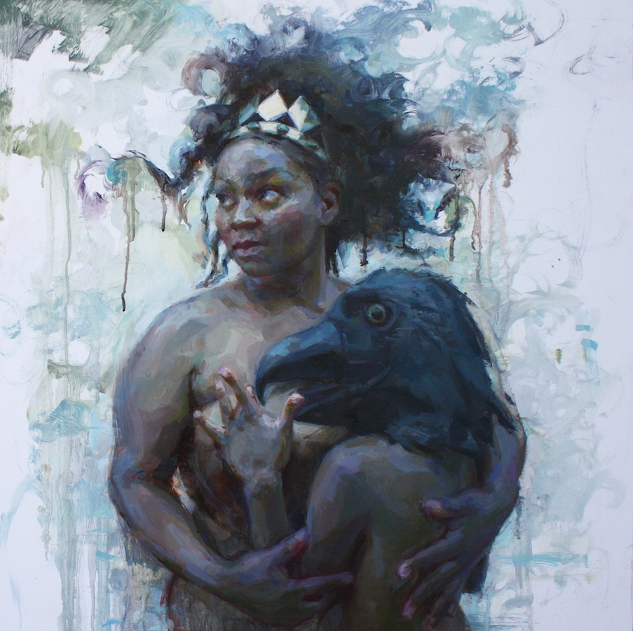 """Protector"" 24""x24"" oil on aluminum panel  Juried into 9th Annual Figurative Painting & Drawing Exhibition by Alia El-Bermani at the Lore Degenstein Gallery at  Susquehanna Univerisity.  This painting is the first of my new series! Stay tuned for more!!!"