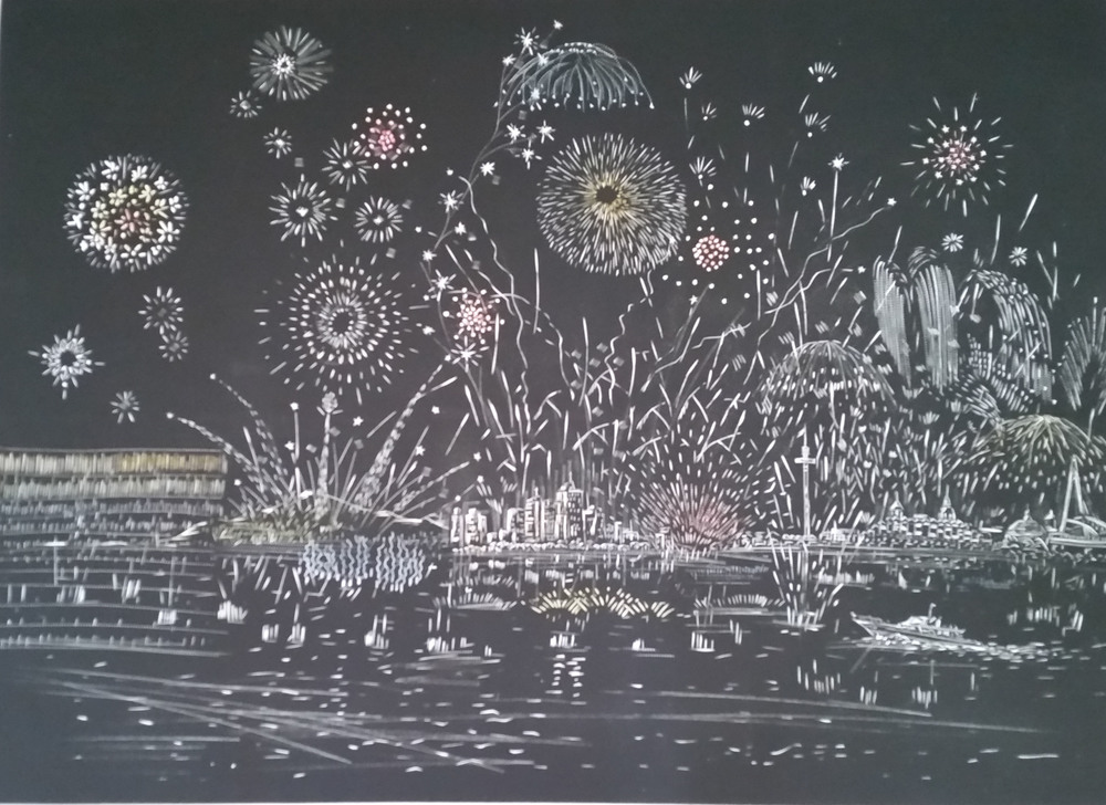 Firework in Danshui   1/5   29.75X42 inches