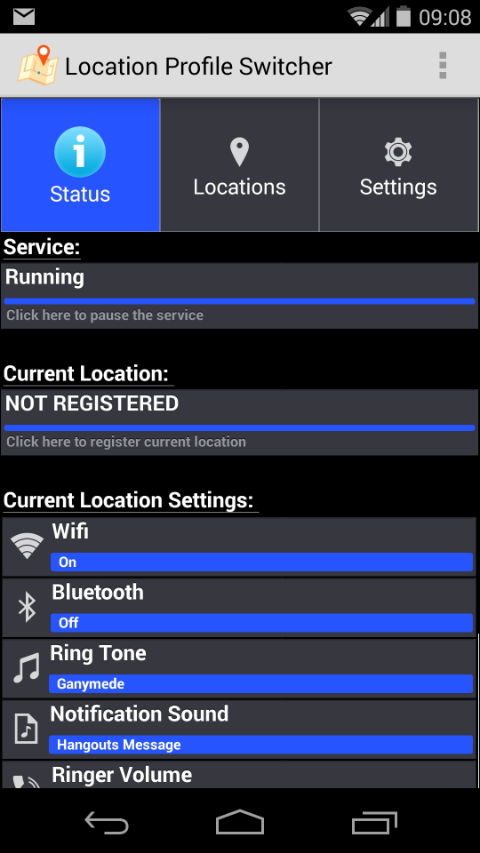 Location Profile Switcher - Status Screen