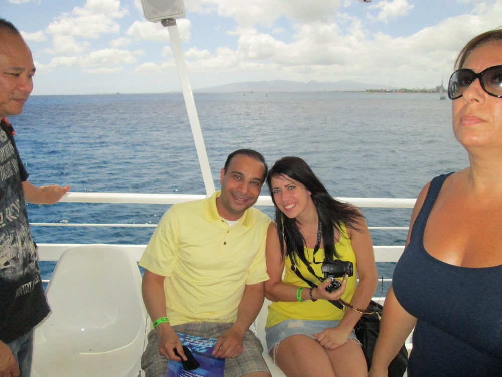 On a boat with Michelle in the South Pacific.