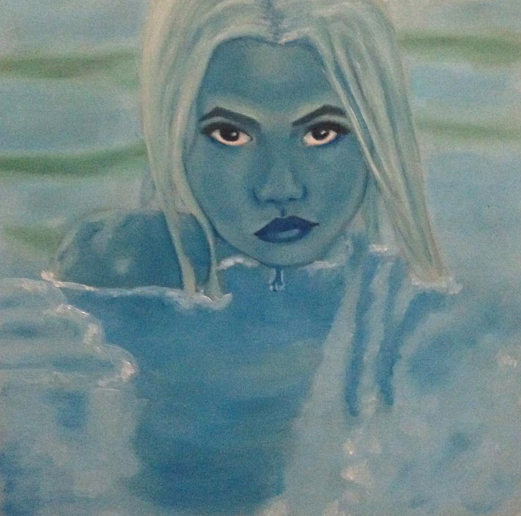 "Link  Artist: bubxbae  Title:  Lover of the Lake  Size: 7"" x 7 "" Mediums:Oil paint on wood panel W.I.P or Done: Done"