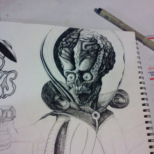Instagram   Artist:Braxton A Hawkins  Titile : Mars Attack  Size:-  Mediums: Pen  W.I.P or Done W.I.P