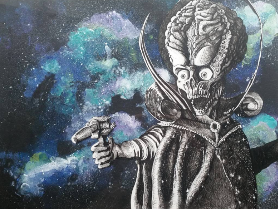 Instagram   Artist: Braxton Hawkins Titile : Mars Attacks  Size: - Mediums: Pen W.I.P or Done: Done