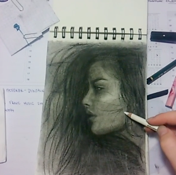 Instagram   Artist: Nina Lukenda  Titile : Night Study  Size: -  Mediums: Pencil  W.I.P or Done: Done