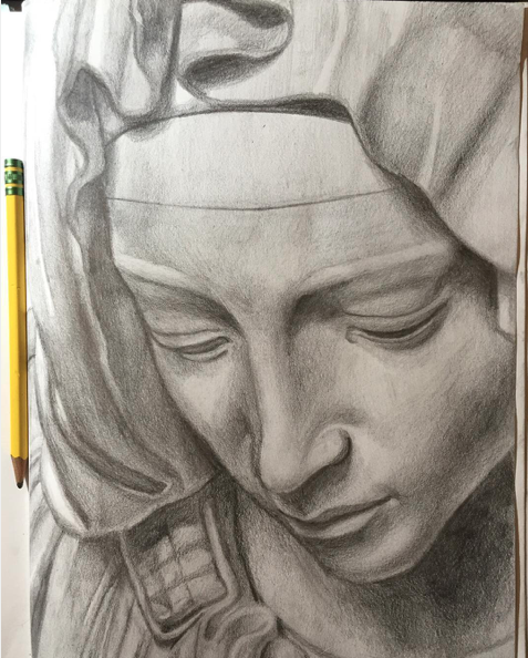 "Instagram  Artist: YoZo Title: The Head of Madonna  Size: 8.5"" x 11"" Mediums: Pencil W.I.P or Done: Done"