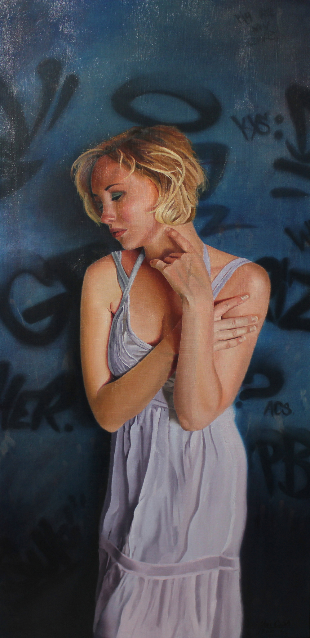 """Video   Artist:Jon Grim  Model  Title: Ghost Of You """"Leave Me Alone"""" Size: 24""""x48"""" Mediums: Oil  2016  Sold"""