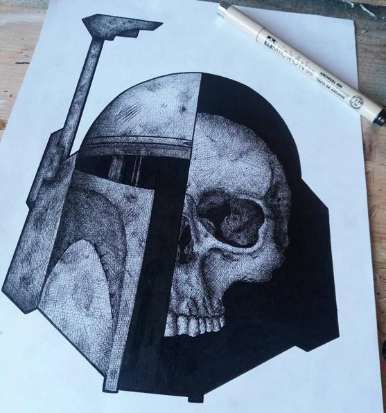 "Link  Artist: Neverabandonship Title: Jango Fett Skull Size: 8""x11"" Mediums: Fine Liner W.I.P or Done: Done"