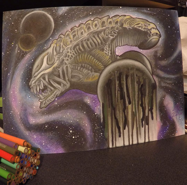 Link   Youtube  Artist: Psykotik_four Title: Alien Xenomorph Size:  -  Mediums: Color Pencil, Molotow, Paint marker. W.I.P or Done: Done