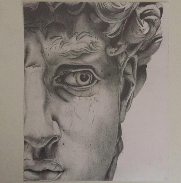 "Instagram  Artist: Yo Zo Titile : The Head of David Size: 8"" x12"" Mediums: soft graphite on Bristol board W.I.P or Done: Done"